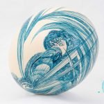Ostrich egg with blue ink by artist and poet Michael Bailey